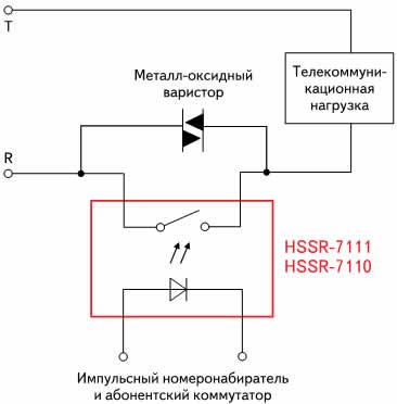 Применение оптрона HSSR-7111 в телефонном коммутаторе