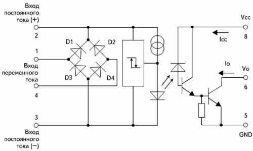 Блок-схема порогового детектора переменных и постоянных напряжений на HCPL-5761