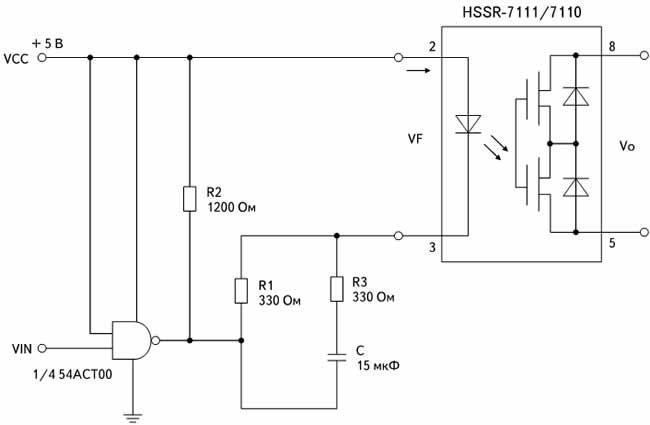 Рекомендуемая схема управления оптроном HSSR-7111