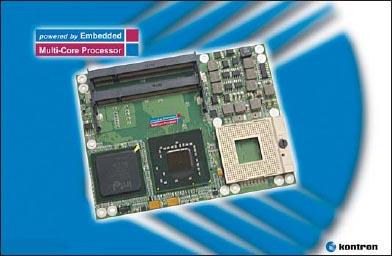 Внешний вид быстрого одноплатного компьютера Kontron ETXexpress-MC с многоядерным процессором Intel Core2 Duo, высокопроизводительной памятью объемом до 4 Гбайт, системной шиной PCI Express, восемью портами USB 2.0 и тремя каналами Serial ATA