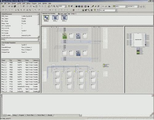 Рис. 7. Рабочее поле PSoC Designer при размещении модулей