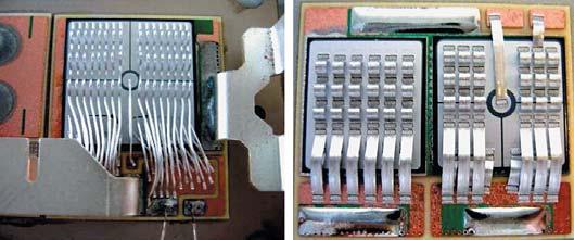 Рис. 13. Сравнение соединений с помощью Al (300 мкм) проводников и ленточных проводников (0,2x1,2 мм) для подключения тиристорного чипа площадью 24x24 мм