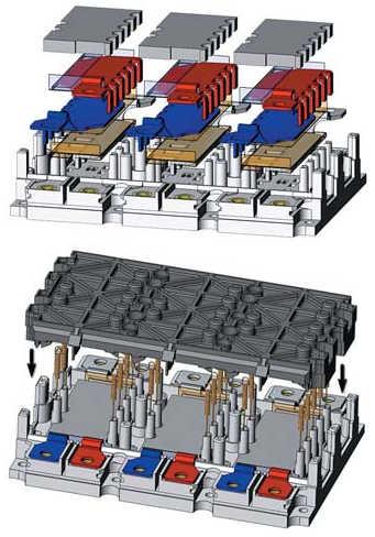 Рис. 14. Новый 3-фазный модуль IGBT SKiM 63 (300 A, 1200 В), производимый без применения пайки