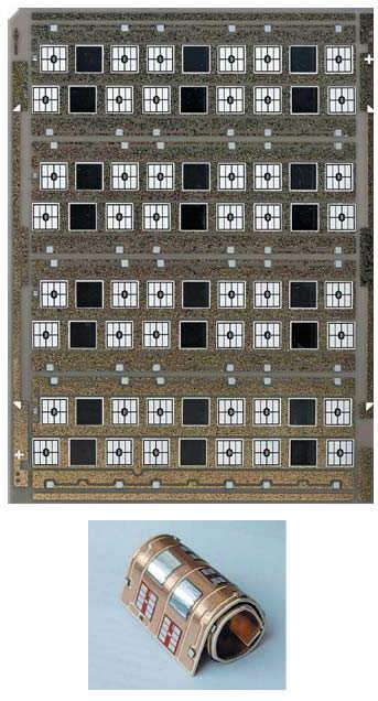 Рис. 15. DBC-плата размером 5''x7'';, содержащая четыре подложки со спеченными чипами, одна из которых скручена для демонстрации качества адгезии кристаллов