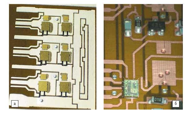 Рис. 21. а) Силовые чипы на нижней стороне SKiN-платы; б) верхний слой SKiN-структуры с интегральной схемой драйвера и smd-пассивными компонентами