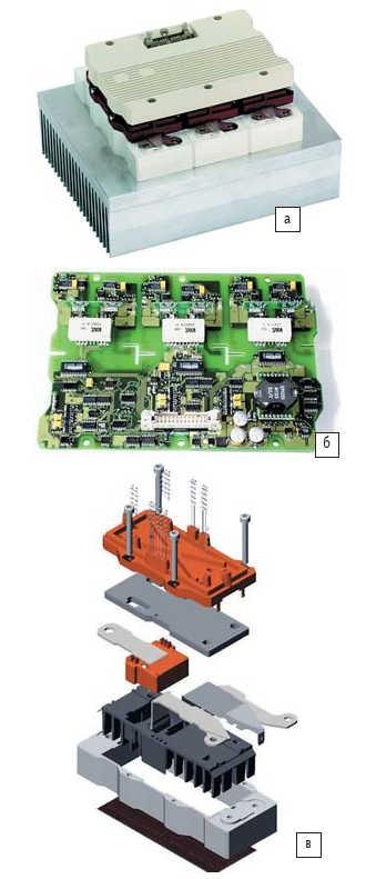 Рис. 5. а) Интеллектуальный полумостовой модуль SKiiP (1800 A, 1200 В) с радиатором; б) интегрированный драйвер SKiiP; в) конструкция полумостового силового каскада с интегрированным датчиком тока