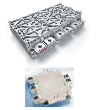 Рис. 6. SKiM63 (300 A, 1200 В) и HybridPack1 (400 A, 600 В) - типичные силовые модули для построения 3-фазного инвертора IGBT автомобильного электропривода (фото HybridPack принадлежит Infineon Technologies)
