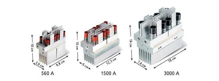 Рис. 9. SEMiSTART - семейство неизолированных тиристорных модулей для устройств плавного пуска