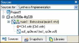 Окно Sources после подключения анализатора ChipScope Pro