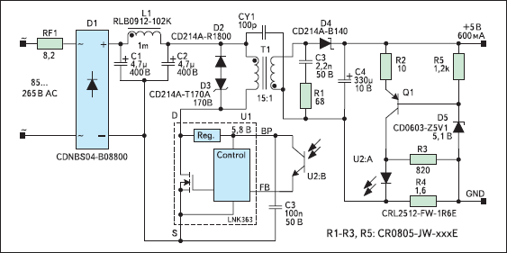 Схема зарядного устройства для мобильного телефона