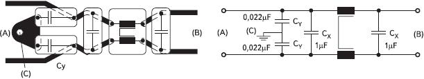 Рис. 8. Правильная установка компонентов фильтра, например, на плате ПК