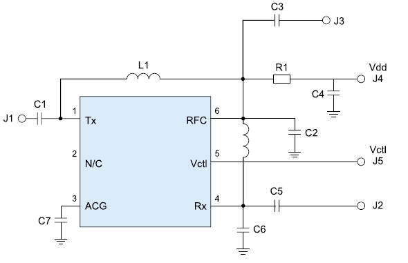 Принципиальная схема включения микросхем HMC646LP2/646LP2E