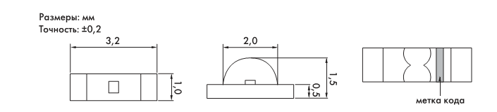 Рис. 3. Чертеж светодиодов серии KL110