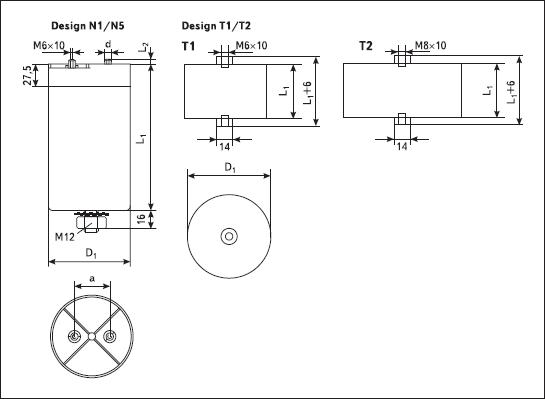 Примеры конструктивного исполнения конденсаторов Electronicon