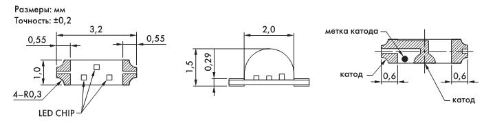 Рис. 4. Чертеж светодиодов серии KL115/KL117