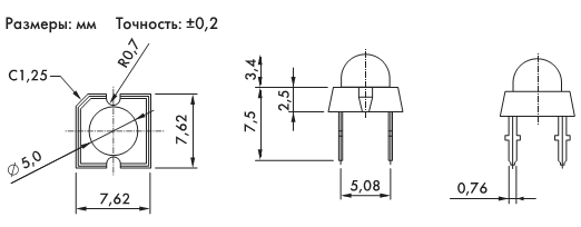 Рис. 7. Чертеж светодиодов серии KLF05