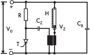Рис. 6. Схема включения при непосредственном включении вторичной обмотки к катоду и поджигающему электроду