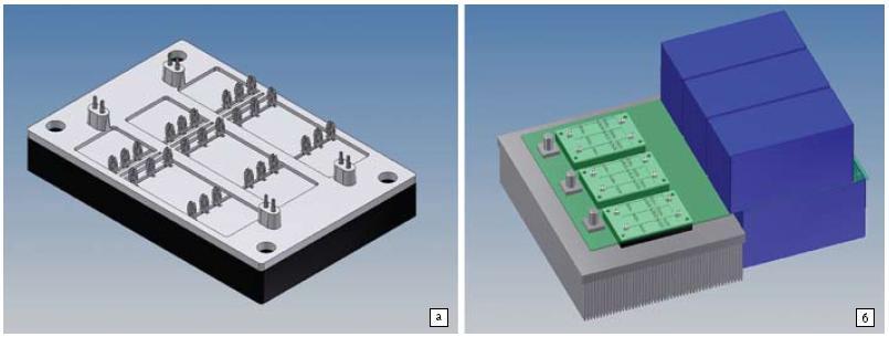 а) Прототип полумостового низкоиндуктивного модуля