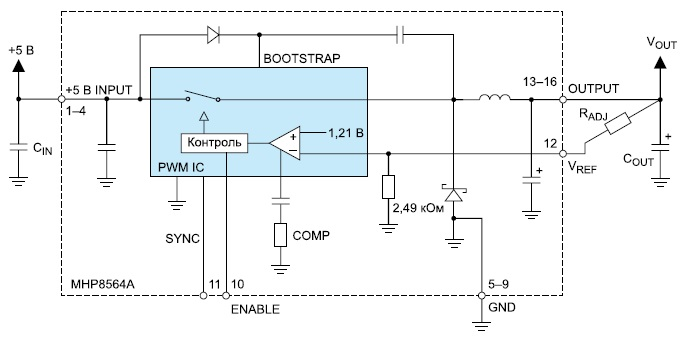 Схема подключения радиационно-стойкого регулятора MHP8564A