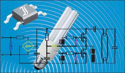 Внешний вид миниатюрной люминесцентной лампы и балластная схема