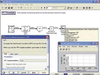 Пример применения блока анализатора спектра