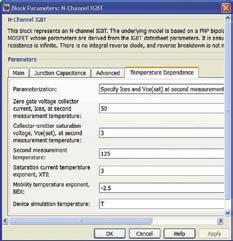 Окно параметров IGBT с открытой вкладкой Temperature Dependence