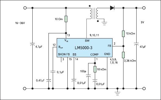 Типовая схема включения ИМС LM5000 в обратноходовой схеме