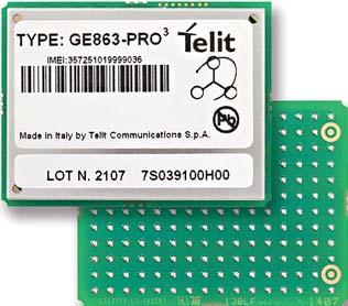 Рис. 1. Четырехдиапазонный GSM/GPRS-модуль GE863 PRO3 компании Telit