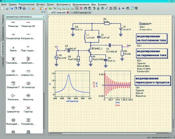 Главное окно Qucs и пример моделирования схемы