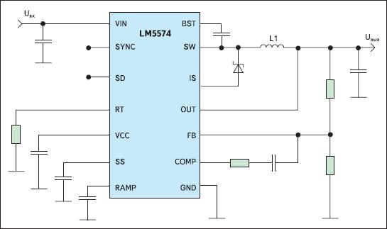 Упрощенная типовая схема включения ИМС LM5574