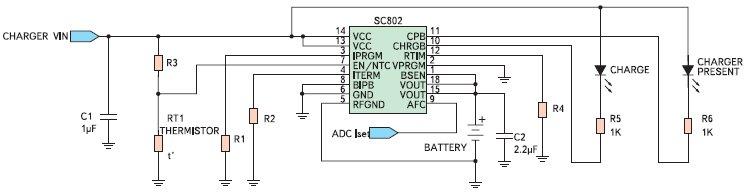 Рис. 2. Типовая схема включения контроллеров заряда SC802 (SC802A)