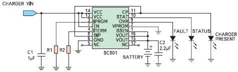 Рис. 3. Типовая схема зарядного устройства на основе SC801