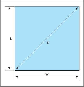 Рис. 3. Размеры печатной платы, необходимые для проверки соответствия требованиям стандарта IPC:  L - длина; W - ширина; D - диагональ
