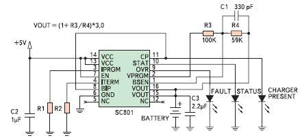 Рис. 4. Зарядное устройство с выходным напряжением 4,8 В на основе SC801