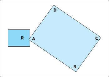Рис. 5. Отклонение угла платы от плоскости при деформации скручивания:  R - максимальное отклонение угла платы от плоскости;  B, C, D - углы платы, лежащие в одной плоскости  (при измерении деформации эти углы должны касаться ровной поверхности)