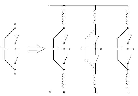 а) Оптимизированная поиндуктивности полумостовая система