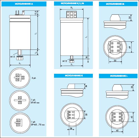 Рис. 7. Примеры конструктивного исполнения конденсаторов Electronicon