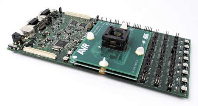 STK600 с переходной и мезонинной платами