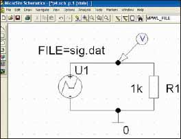 Испытательная схема с источником сигнала из файла