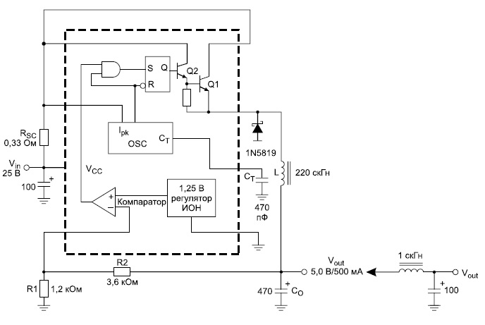 Структурная схема МС34063, реализующая алгоритм заряда Li-ion аккумулятора