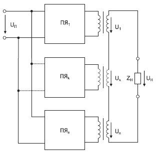 Схема многоячеечного АИН. ПЯ — преобразовательная ячейка