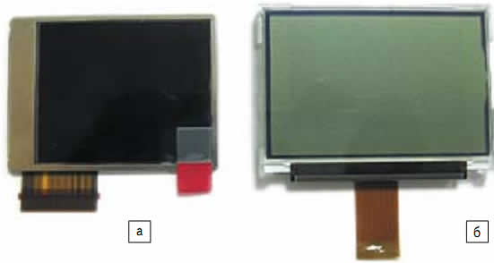 Индикатор: а) цветной OLED PPT9999-A003-04-Q; б) монохромный PG12864LRF-NRA-H