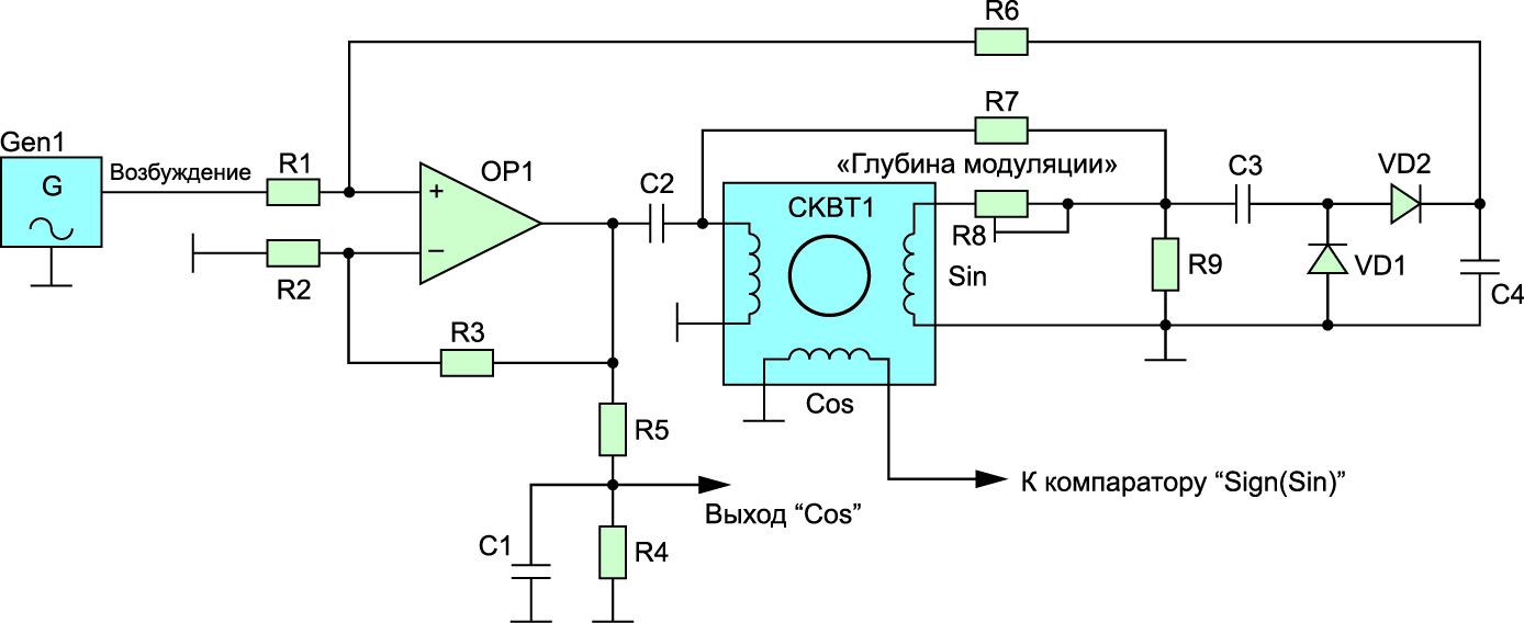 Функциональная схема преобразователя ФКМ в АМ с детектированием, фильтрацией и рефлексивным усилением сигналов СКВТ на одном операционном усилителе
