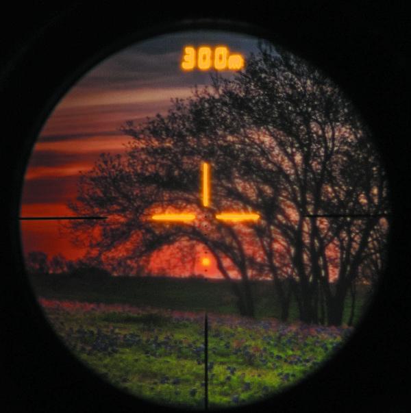 Пример изображения, наблюдаемого через окуляр cо встроенным дисплеем Lumineq, формирующего прицельную метку и отображающего значения дальномера