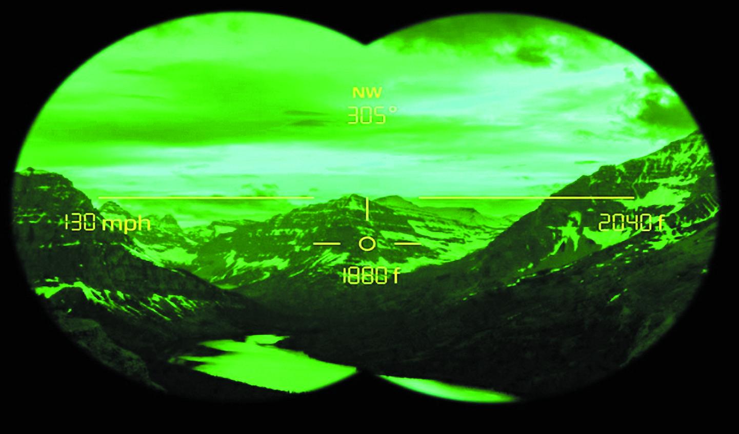Стереоизображение, видимое через электронный видоискатель бинокля ночного видения