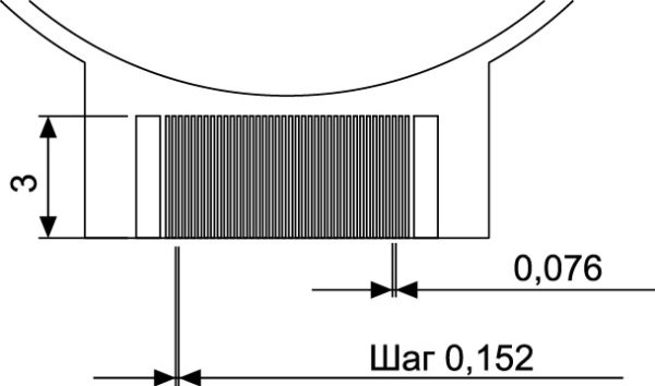 Зона контактных площадок дисплея