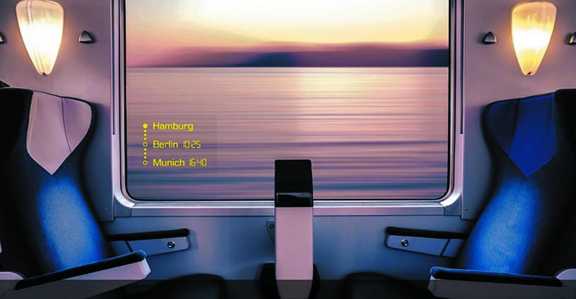 Окно с регулируемой прозрачностью в купе скоростного поезда