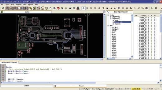Экран программного инструмента ScanAssist фирмы GOEPEL electronic— интегральная часть программного тестового обеспечения CASCON GALAXY