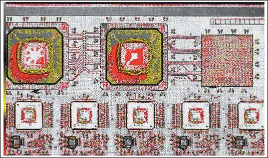 Рис. 11. Пример УЗ-контроля платы с микросхемами в BGA-корпусах,  красным показаны области расслоения