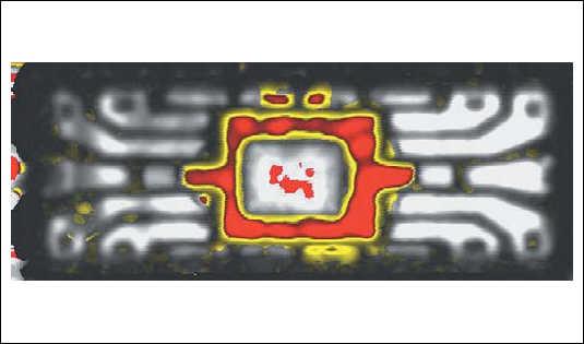 Рис. 12. Пример УЗ-контроля микросхемы в корпусе SOIC 16,  красным показаны области расслоения